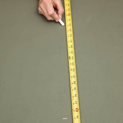 marking band distances with chalk and a tape measure