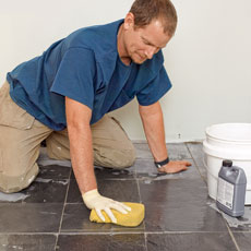 how to install a stone-tile floor