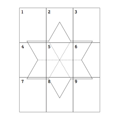 template for 6-pointed star pattern painting floor