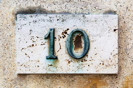 house numbers with copper patina