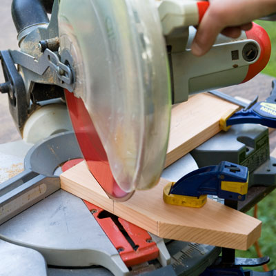 cutting feet and brackets for a picnic bench