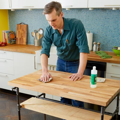 applying mineral oil to the countertop