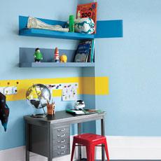 a finished homework nook with shelves