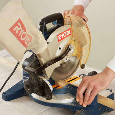 cutting blanks with a miter saw