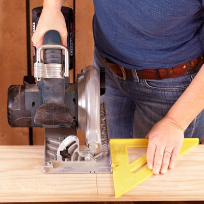 cutting boards to length with a circular saw