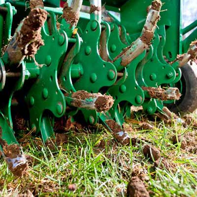 roger cook showing how to Aerate and prepare your lawn for winter