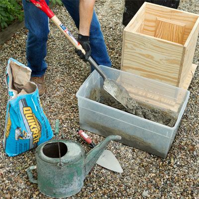 Add water to mix to make a concrete planter as a this old house weekend remodel project