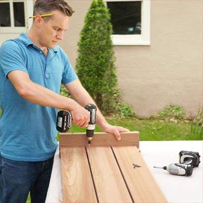 Assemble the Front Panel to build a compost bench