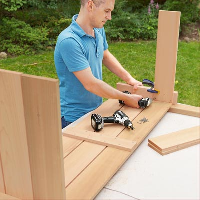 Attach the Side Slats to Assemble the Base to build a compost bench
