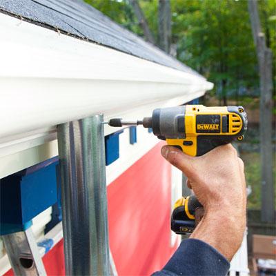 Fasten the Downspout when installing fiberglass gutters