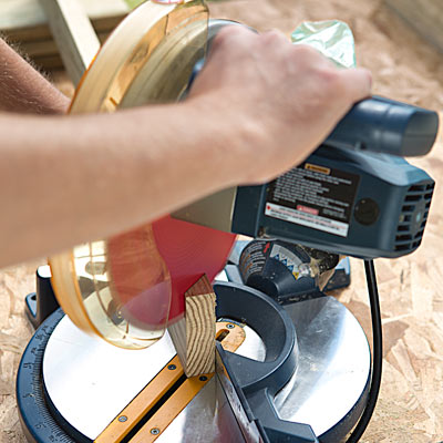 bevelling the skirt pieces with a miter saw