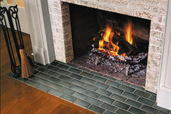 tiles on  the fireplace