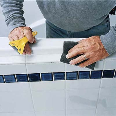 scrub tub surround to remove every trace of caulk residue