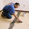 putting down the underlayment for a self-adhesive tile floor