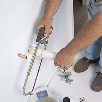 cutting pipe for sink installation