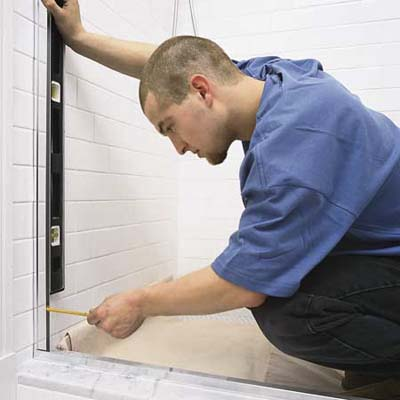 step by step shower door installation | Mark position of the hinge-side jamb | How to Install a ...