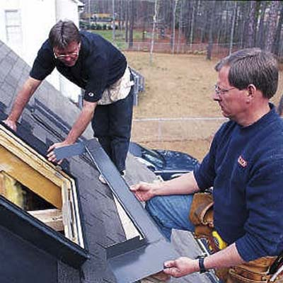 install the sill flashing along the bottom of the skylight