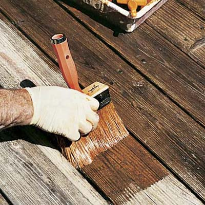 stain the deck with long, even strokes