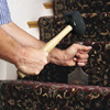 Fastening the carpet runner to riser
