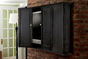 a newly installed tv cabinet for a flat screen tv