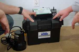 a sump pumps equipped with a battery-backup system