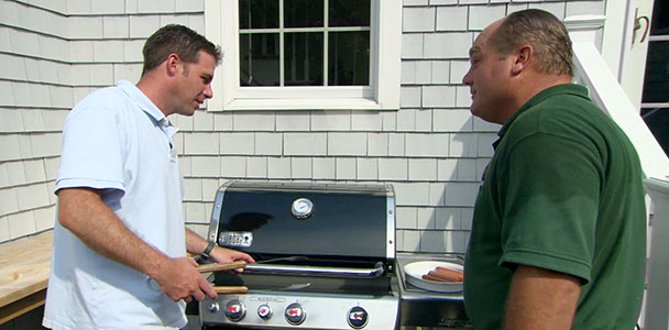 Richard Trethewey installs a natural gas line for a barbecue grill