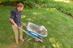 Roger Cook shows safe, effective ways to use a wheelbarrow