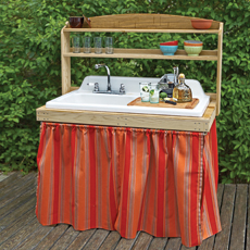 backyard bar built from salvaged cast-iron sink