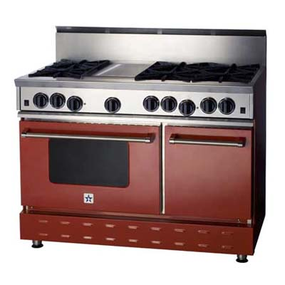BlueStar gas range in red