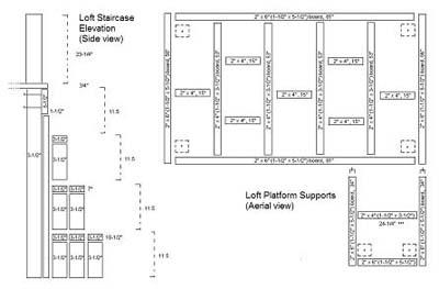 elevation for loft bedroom in studio apartment