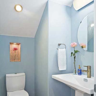 half baths can fit into odd places like under the eaves shown here