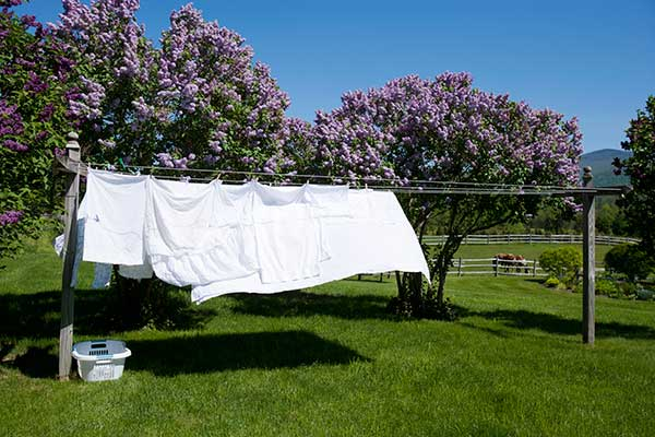 white sheets hanging from a standalone, wood-frame clothesline under a blue sky with green grass and tress surrounding it